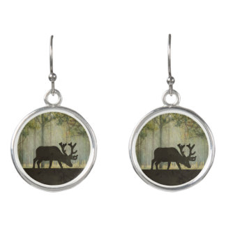 Moose in Forest Illustration Earrings