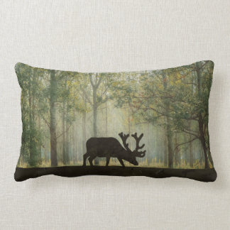 Moose in Forest Illustration Lumbar Cushion