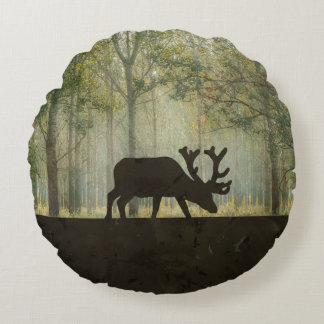 Moose in Forest Illustration Round Cushion