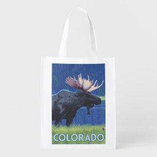 Moose in MoonlightColorado Reusable Grocery Bag