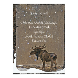 Moose in Snow 14 Cm X 19 Cm Invitation Card