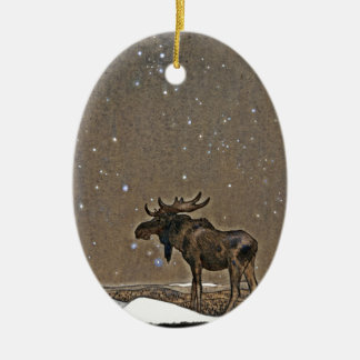 Moose in Snow Ceramic Oval Decoration