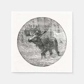Moose in Snow Emblem Disposable Serviette