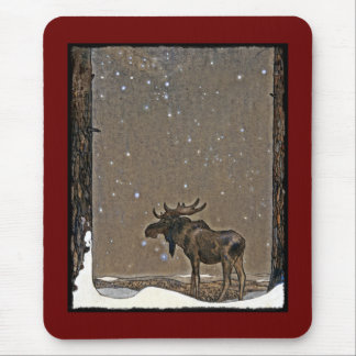 Moose in Snow Mouse Mat