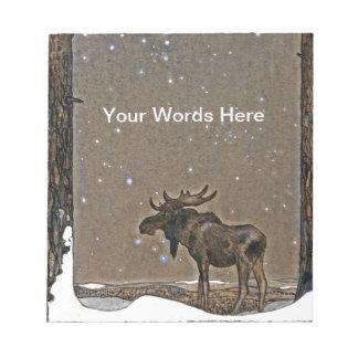Moose in Snow Notepad