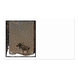 Moose in Snow Pack Of Standard Business Cards