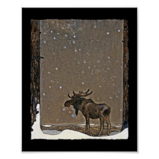 Moose in Snow Poster