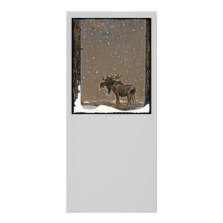 Moose in Snow 10 Cm X 23 Cm Rack Card