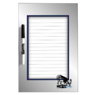 Moose in Stream Silver Dry Erase White Board