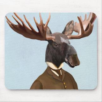 Moose In Suit Portrait Mouse Mat