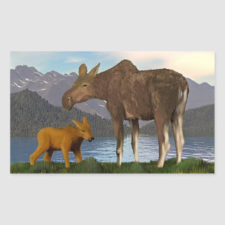 Moose in the Meadow Rectangular Sticker