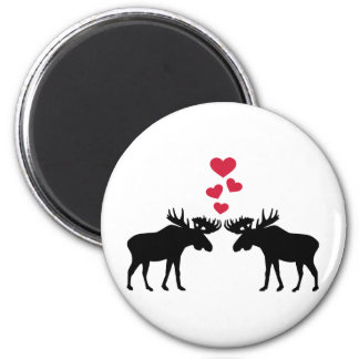 Moose love red hearts magnet