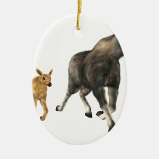 Moose Mom & Baby Ceramic Oval Decoration