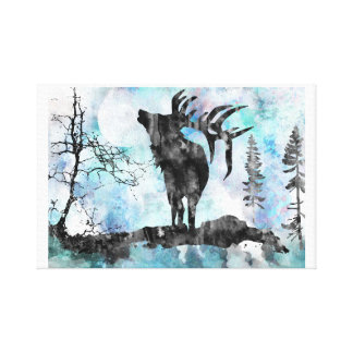 Moose, moose print, watercolor moose canvas print