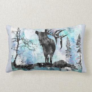Moose, moose print, watercolor moose lumbar cushion