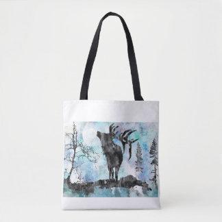 Moose, moose print, watercolor moose tote bag