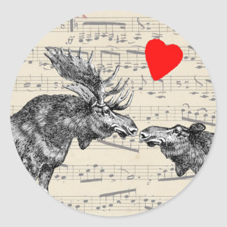 """Moose Music """"The Sound of Moose-ic"""" Loving heart Round Stickers"""