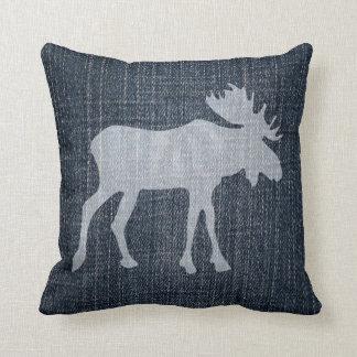 Moose on Denim Cushion
