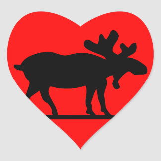 Moose on the Loose Heart Sticker