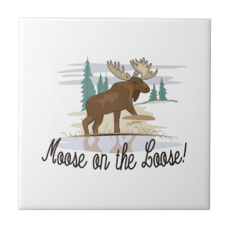 Moose on the Loose! Small Square Tile