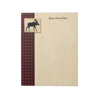 Moose Red Black Check Border Notepads