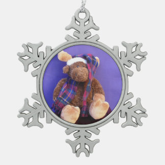 Moose Santa Pewter Snowflake Ornament