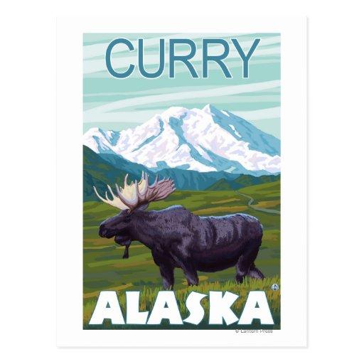 Moose Scene - Curry, Alaska Postcard