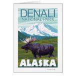 Moose Scene - Denali National Park, Alaska Greeting Cards