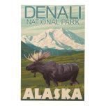 Moose Scene - Denali National Park, Alaska Wood Prints