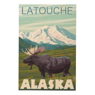 Moose Scene - Latouche, Alaska Wood Wall Art