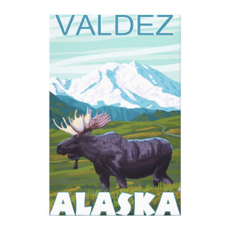 Moose Scene - Valdez, Alaska Canvas Prints
