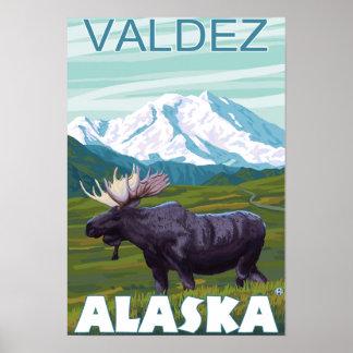 Moose Scene - Valdez, Alaska Poster