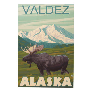 Moose Scene - Valdez, Alaska Wood Prints
