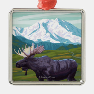 Moose Scene - Yukon, Alaska Christmas Ornament