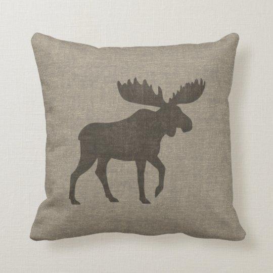 Moose Silhouette Burlap Style Cushion