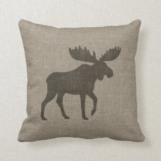 Moose Silhouette Burlap Style Cushion