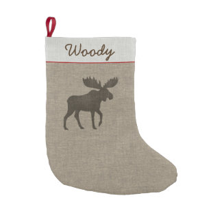 Moose Silhouette with Custom Text Small Christmas Stocking