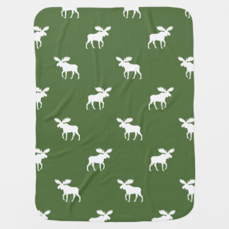 Moose Silhouettes Pattern Baby Blanket