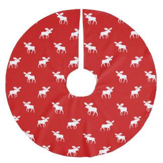 Moose Silhouettes Pattern Brushed Polyester Tree Skirt