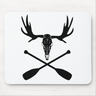 Moose Skull and Crossed Paddles Mouse Mat