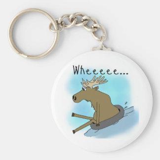 Moose Snow  Tubing Basic Round Button Key Ring
