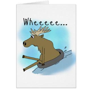 Moose Snow  Tubing Greeting Card