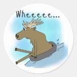 Moose Snow  Tubing Round Sticker