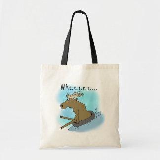 Moose Snow  Tubing Tote Bags