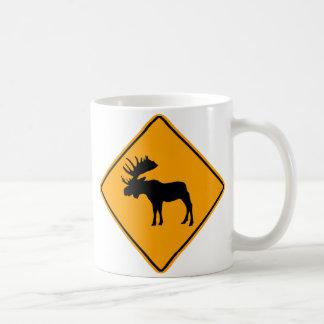 Moose Symbol Yellow Diamond Warning Sign Basic White Mug