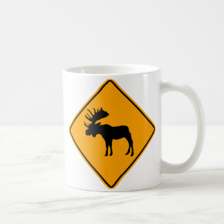 Moose Symbol Yellow Diamond Warning Sign Coffee Mug