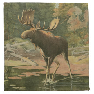 Moose Walking in Water Napkin
