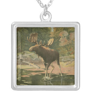 Moose Walking in Water Silver Plated Necklace