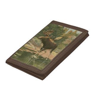 Moose Walking in Water Trifold Wallets