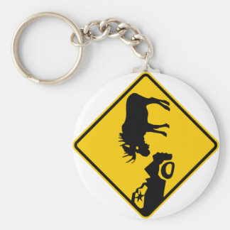 Moose Warning Sign from Gros Morne National Park Basic Round Button Key Ring